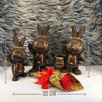 تندیس خرگوش جا قلمی در سه سایز با هم ساخه شده از جنس رزین، قابل شستشو و رنگ ثابت