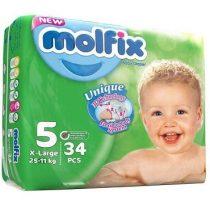 پوشک کامل بچه سایز 5 وزن 11 تا 25 کیلویی 34 عددی مارک مولفیکسmolfix